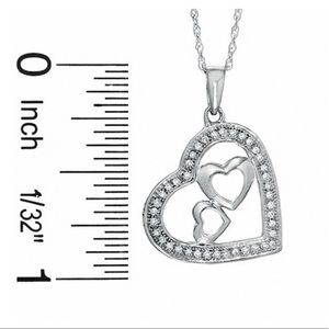 10k White Gold Diamond Hearts-in-heart charm